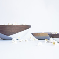 Walnut Popcorn Bowl Set