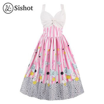 Women Retro Dress Summer Pink Print Country Style Scoop Sleeveless Straps White A-Line Knee-Length Vintage Dresses