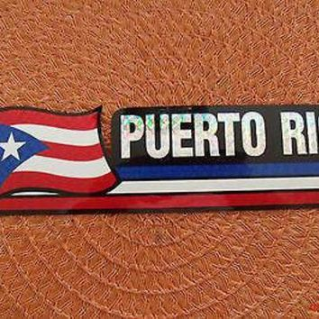 DCCKIHN Bandera Puerto Rico Flag Reflective Sticker Coated Finish Decal 12x2/12