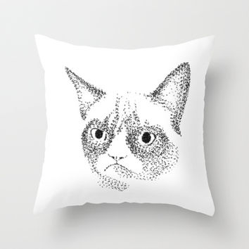 Grumpy Cat Throw Pillow by Sara Murello