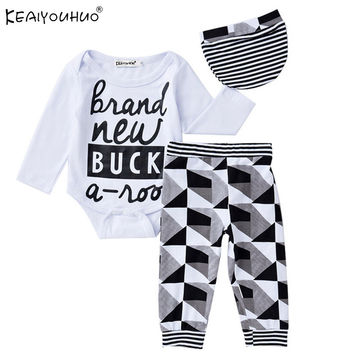 2017 New baby boy clothing set baby suit Letter long-sleeved romper + pants + hat 3pcs newborn baby Infant Baptism Clothes