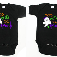 Too Cute To Spook Halloween Fall Black Onesuit or Toddler / Kid's T-Shirt