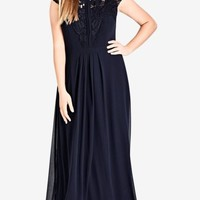 Navy Lace Bodice Maxi Dress