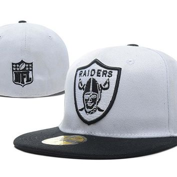 PEAPON Oakland Raiders New Era 59FIFTY NFL Football Hat White-Black
