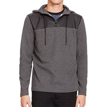 LMFON Kenneth Cole New York Men's Half Zip Hoodie with Nylon, Flannel Heather, XX-Large