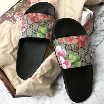 c49da915fa76 Gucci Casual Fashion Women Floral Print Sandal Slipper Shoes