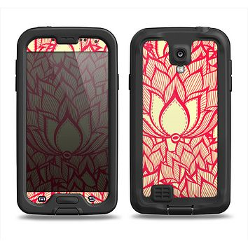 The Sketched Red and Yellow Flowers Samsung Galaxy S4 LifeProof Fre Case Skin Set