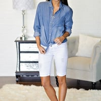 * Alyce Bermuda Shorts: White Distressed