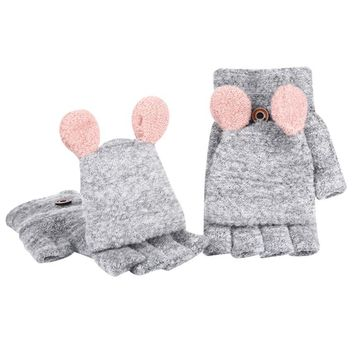 2017 Fashion Cute Winter Warm Women's Wool Gloves Girls Ladies Hand Wrist Without Fingers Mitten  Hot Sale