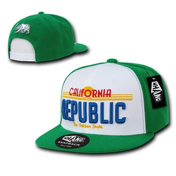 New CALIFORNIA REPUBLIC SNAPBACK HAT Green & White Golden State License Plate