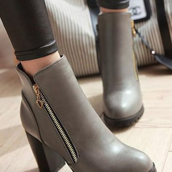 New Women Grey Round Toe Chunky Zipper Casual Ankle Boots