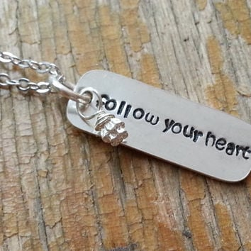 Inspirational Quote Graduation Necklace, Poetry Necklace, Follow your heart Necklace