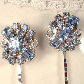 Vintage Something Dusty Blue Crystal Rhinestone Silver Bridal Hair Pins, Heirloom Jeweled One of a Kind Bobby Pins Set of 2 Bridesmaids Gift