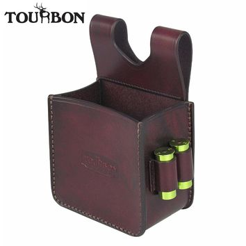 Tourbon Hunting Gun Ammo Shells Bag Rifle Cartridges Carrier with 12Gauge 16/20GA Shotgun Holders Case Leather Pouch Shooting