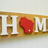 "Wisconsin Badgers ""State Heart"" Home Sign - Handcrafted wood with official team colors"