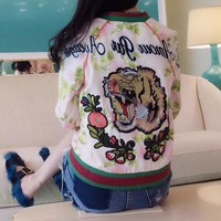 """""""Gucci"""" Women Fashion Multicolor Letter Flower Tiger Head Embroidery Long Sleeve Zip Cardigan Baseball Clothes Jacket Coat"""