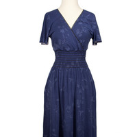 'S OWN! Printed Blue Smocked Dress