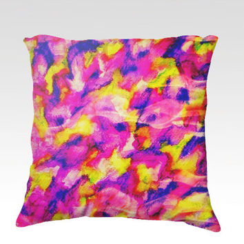 THE FLOCK 3 Fine Art Velveteen Throw Pillow Cover 18 x 18 Abstract Painting Raspberry Magenta Pink Royal Blue Yellow Modern Dorm Home Decor