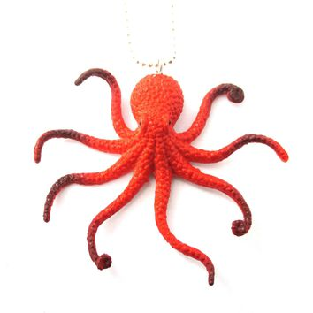 Realistic Octopus Shaped Animal Figurine Pendant Necklace in Orange | Animal Jewelry