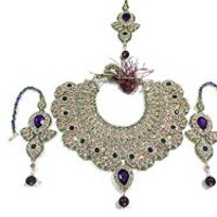 Womens Necklace Set Bridal Kundan Polki Bollywood Stylish Indian Jewelry Sets ~ Purple & Green | Mogul Interior