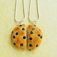 chocolate chip cookie best friend necklaces polymer clay bff