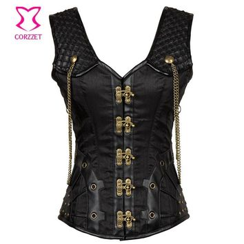 Vintage Black Satin and Leather Punk Gothic Clothing Plus Size Corset 6XL Steampunk Corsets and Bustiers Sexy Tank Vest Korset