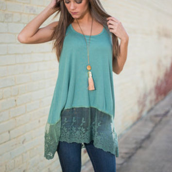 Lace To Lace Tank, Jade