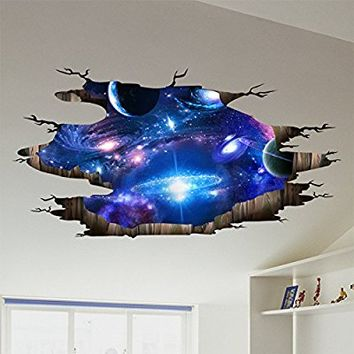 Blue Purple Galaxy Wall Decals , Removable Sticker,The Art Magic 3D Milky Way Dreamscape Home Decor