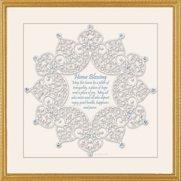 Framed Lace Home Blessing by Mickie Caspi, Wall Art Size: 18x18