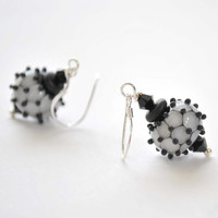 Black and White Bumpy Lampwork Glass Earrings - Swarovski Crystals - Sterling Silver Ear Wires