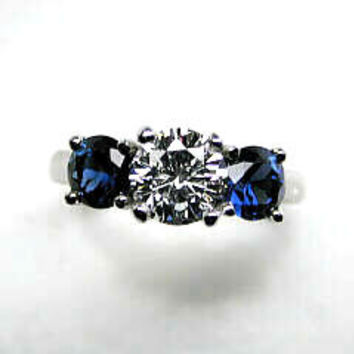 2.56ct G-SI1 Diamond & Sapphire Engagement Ring JEWELFORME BLUE Birthday Anniversary Three Stone Rings