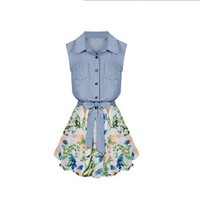 Sunward Women Denim Stitching Chiffon Sleeveless Lapel Shirt Flower Bow Dress