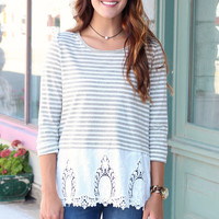 Button Back Striped Lace Top {Olive Grey}