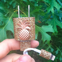 Rose gold sparkly iphone 5/6 charger