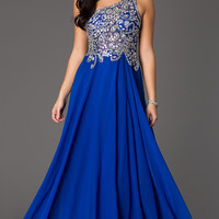 One Shoulder Floor Length Prom Dress by Studio 17