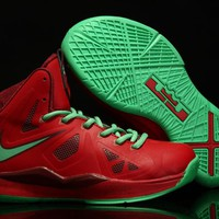 Nike LeBron Red/Green Youth Kids Basketball Shoes US 11C - 3Y