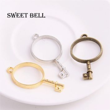 Sweet Bell 15pcs 25*46mm Three color Alloy Hollow Round key charm glue blank Round pendant tray bezel charms DIY Handmade D6179