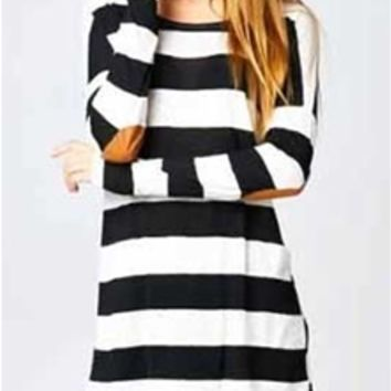 Gliks - Vanilla Bay Stripe Tunic with Elbow Patch in Black