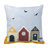 Sunny Beach Huts Summer Pillows