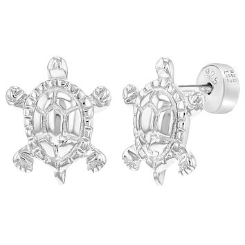925 Sterling Silver Little Safety Push Back Turtle Earrings for Girls Toddlers