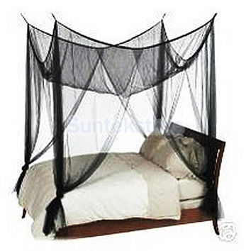 Black Four Corner Canopy Bed Netting