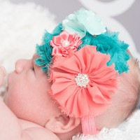 Coral & Teal Elastic Headband for Baby Girls