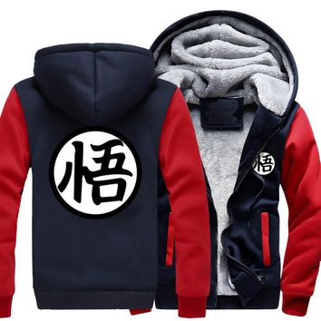 brand clothing New Winter Jackets and Coats Dragon Ball Z hoodie Anime Son Goku Hooded Thick Zipper Men cardigan Sweatshirts