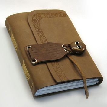 Rustic  Leather Handmade Journal with Wood by MedievalJourney