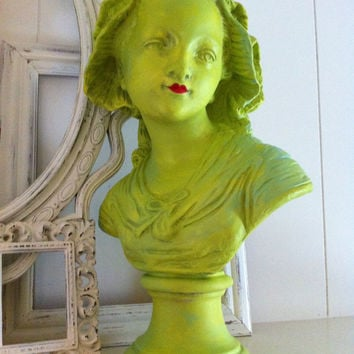 Vintage Chartreuse Girl Bust Hollywood Regency Salon Decor Unique Home Funky Lime