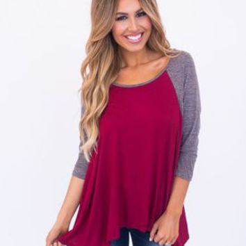 Curved Hem Baseball Tunic- Maroon/Grey