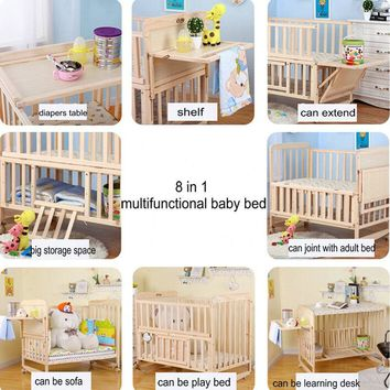 8 in1 baby bed with shelf, can extend 148cm baby crib, 3 grade height adjust baby cot, can combine with adult bed, pine baby bed