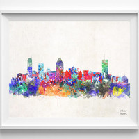 Montreal Skyline, Watercolor, Quebec Poster, Canada Print, Cityscape, City Painting, Illustration Art Paint, Wall, Home Decor [NO 410]