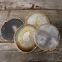 Gold Rimmed Natural Agate Coasters - Set of Four, Multiple Sets Available