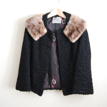 60s Doll - Vintage 60s Persian Lambs Wool Mink Collar Coat Cropped Short Swing